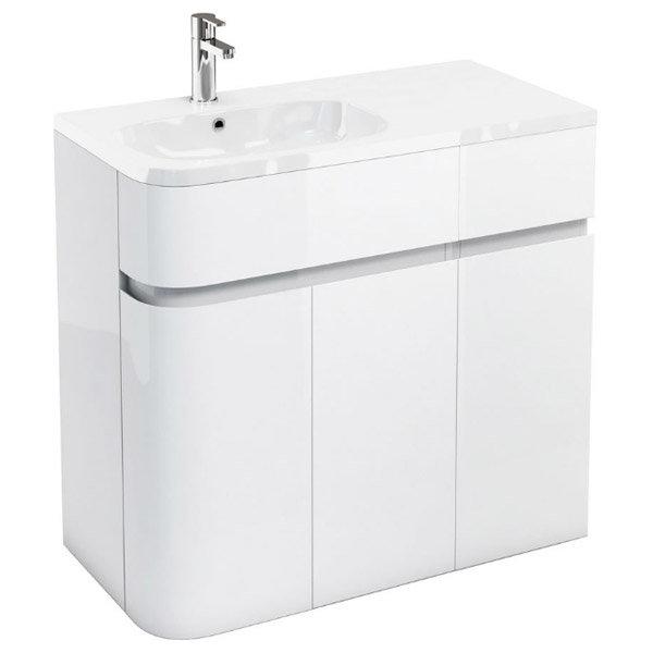 Aqua Cabinets - W900 x D450 Arc Cabinet Unit with Quattrocast Basin - White Large Image