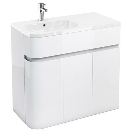 Aqua Cabinets - W900 x D450 Arc Cabinet Unit with Quattrocast Basin - White