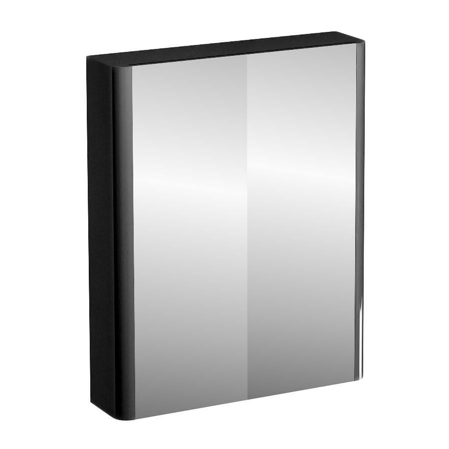 Britton Bathrooms - W600 x H750 Compact Double Mirrored Door Wall Cabinet - Black Large Image