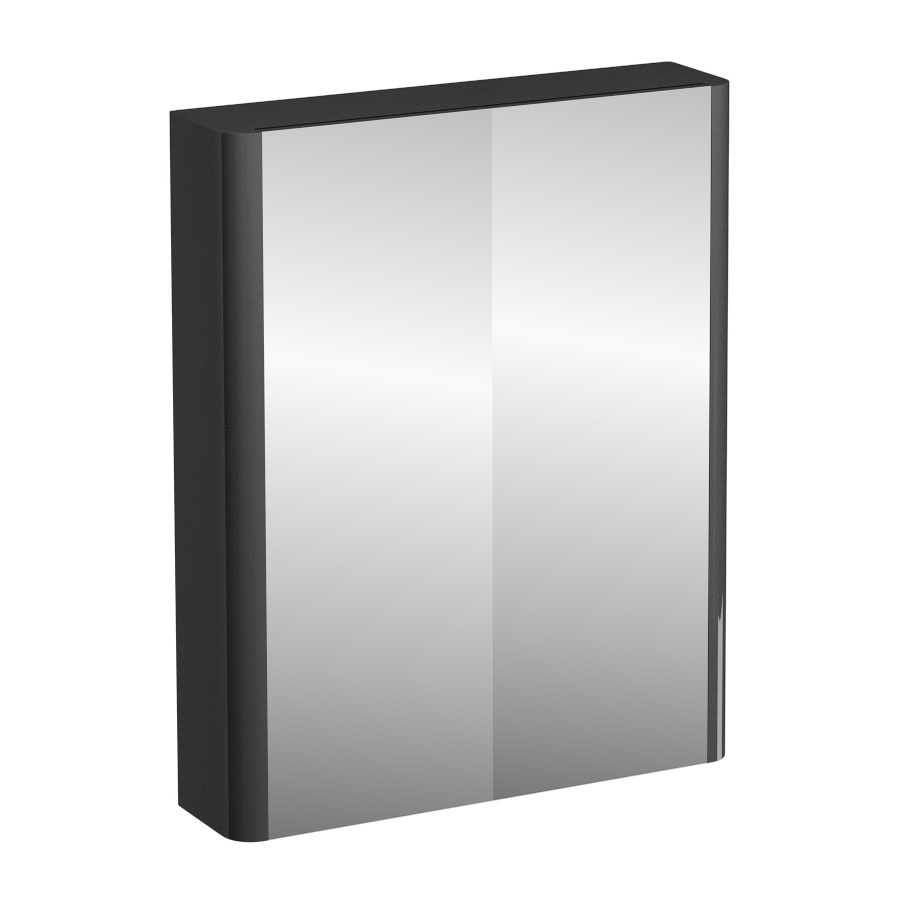 Britton Bathrooms - W600 x H750 Compact Double Mirrored Door Wall Cabinet - Anthracite Grey Large Image