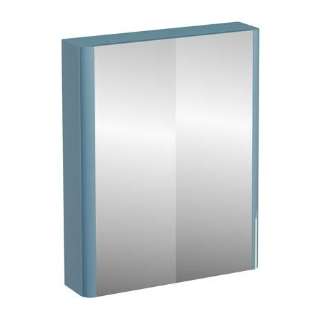 Britton Bathrooms - W600 x H750 Compact Double Mirrored Door Wall Cabinet - Ocean