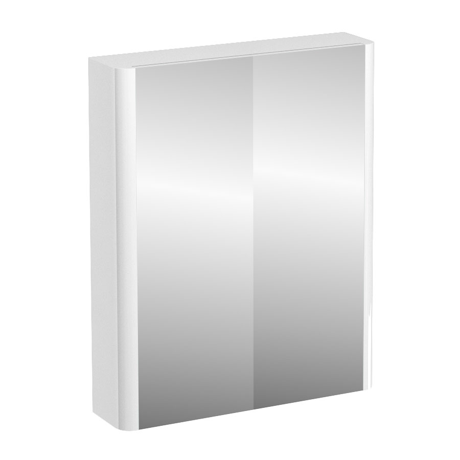 Britton Bathrooms - W600 x H750 Compact Double Mirrored Door Wall Cabinet - White profile large image view 1
