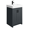 Chatsworth Traditional Graphite Vanity - 560mm Wide with Matt Black Handles profile small image view 1