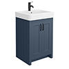 Chatsworth Traditional Blue Vanity - 560mm Wide with Matt Black Handles profile small image view 1