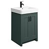 Chatsworth Traditional Green Vanity - 560mm Wide with Matt Black Handles profile small image view 1
