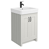 Chatsworth Traditional Grey Vanity - 560mm Wide with Matt Black Handles profile small image view 1