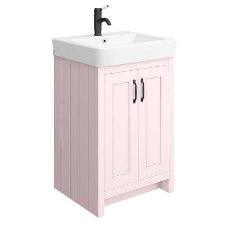 Chatsworth Traditional Pink Vanity - 560mm Wide with Matt Black Handles
