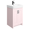Chatsworth Traditional Pink Vanity - 560mm Wide with Matt Black Handles profile small image view 1