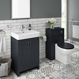 Chatsworth Traditional Graphite Sink Vanity Unit + Toilet Package
