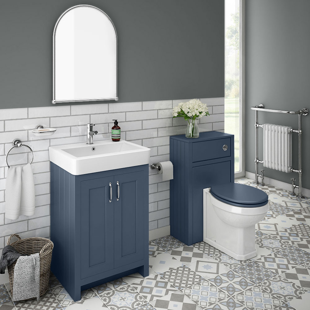 Chatsworth Traditional Blue Sink Vanity Unit + Toilet Package
