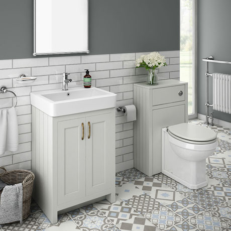 Chatsworth Traditional Grey Sink Vanity Unit + Toilet Package