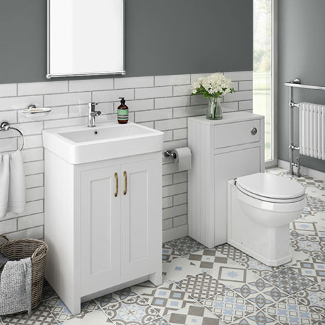 Chatsworth Traditional White Sink Vanity Unit + Toilet Package