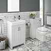 Chatsworth Traditional White Sink Vanity Unit + Toilet Package profile small image view 1