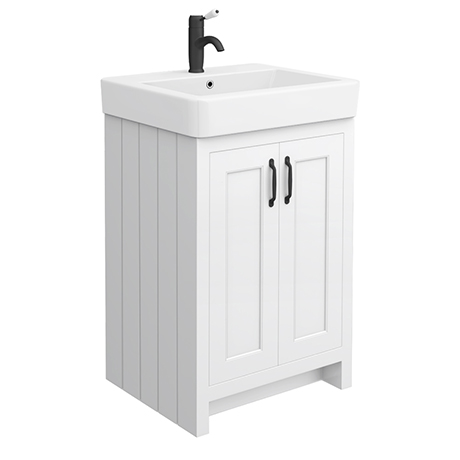 Chatsworth Traditional White Vanity - 560mm Wide with Matt Black HandlesChatsworth Traditional White