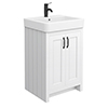 Chatsworth Traditional White Vanity - 560mm Wide with Matt Black Handles profile small image view 1