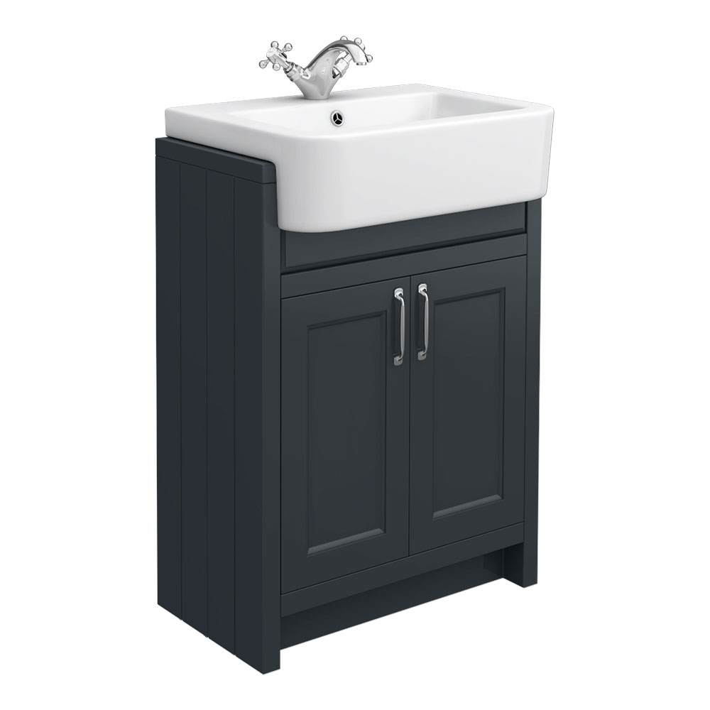 Chatsworth Traditional Graphite Semi-Recessed Vanity - 600mm Wide