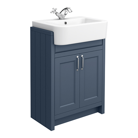 Chatsworth Traditional Blue Semi-Recessed Vanity - 600mm Wide