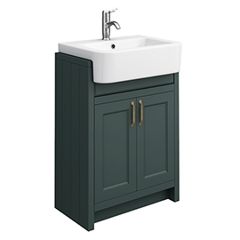 Chatsworth Traditional Green Semi-Recessed Vanity - 600mm Wide