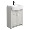 Chatsworth Traditional Grey Semi-Recessed Vanity - 600mm Wide with Matt Black Handles profile small image view 1