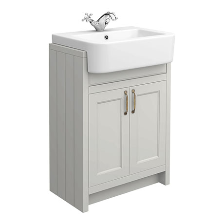 Chatsworth Traditional Grey Semi-Recessed Vanity - 600mm Wide