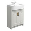 Chatsworth Traditional Grey Semi-Recessed Vanity - 600mm Wide profile small image view 1