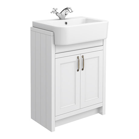 Chatsworth Traditional White Semi-Recessed Vanity - 600mm Wide