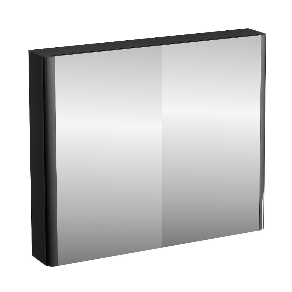 Britton Bathrooms - W900 x H750 Compact Double Mirrored Door Wall Cabinet - Black Large Image