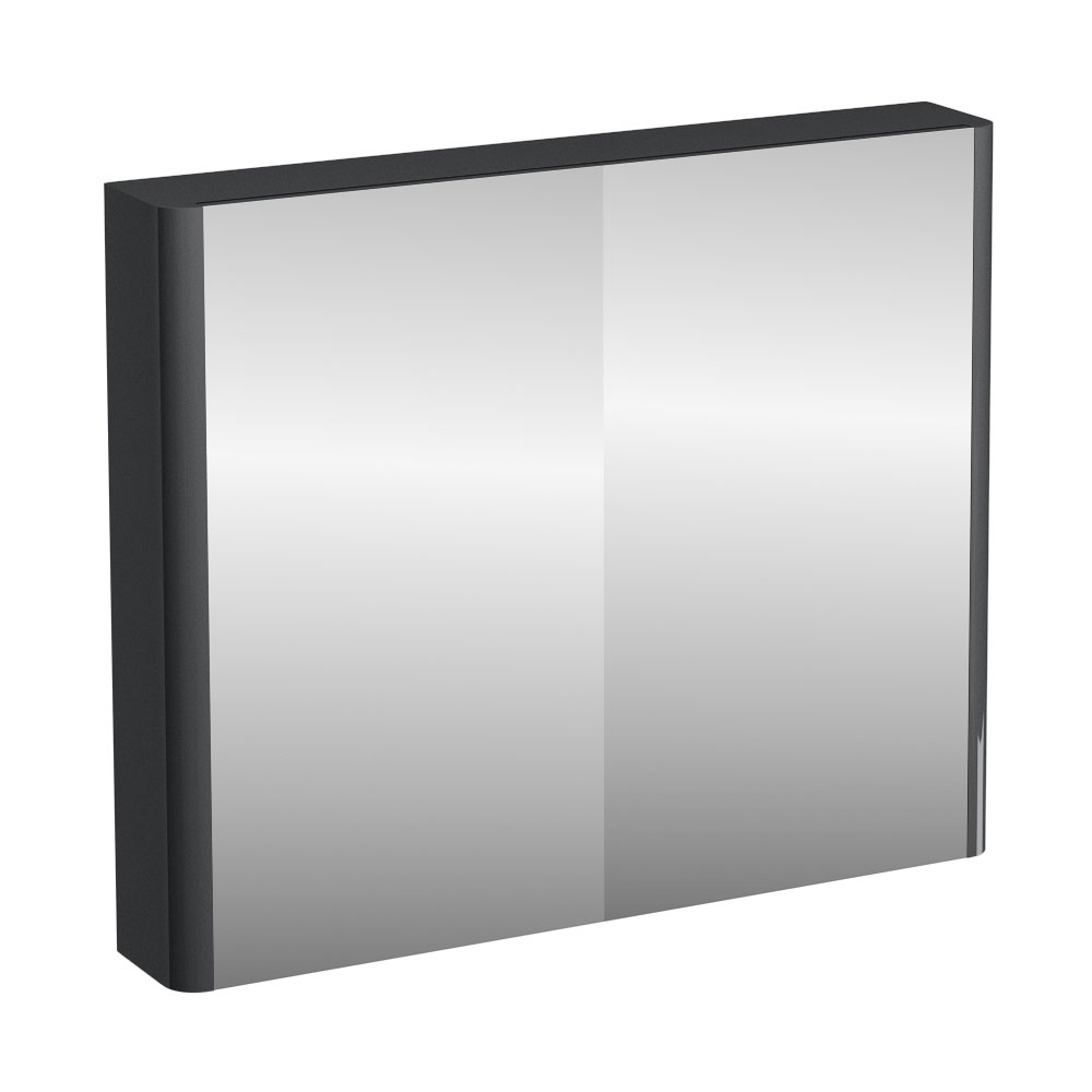 Britton Bathrooms - W900 x H750 Compact Double Mirrored Door Wall Cabinet - Anthracite Grey Large Image