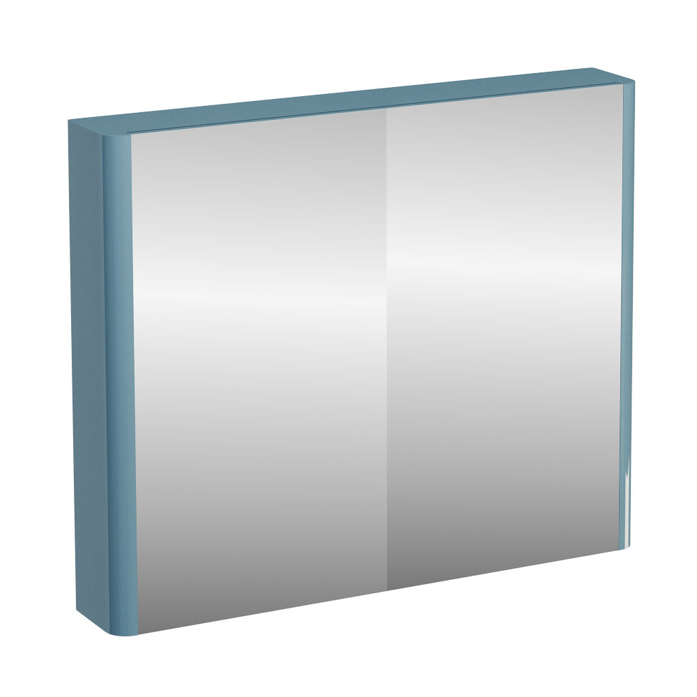 Britton Bathrooms - W900 x H750 Compact Double Mirrored Door Wall Cabinet - Ocean profile large image view 1