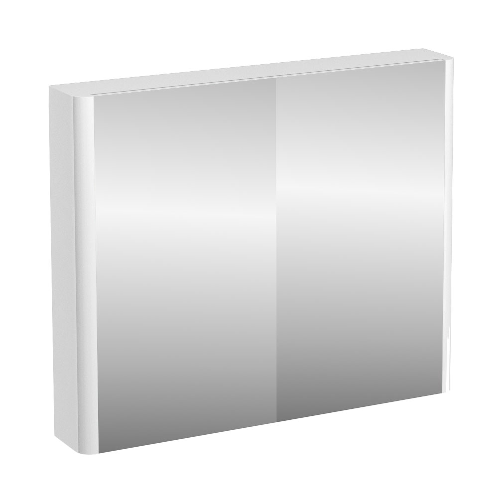 Britton Bathrooms - W900 x H750 Compact Double Mirrored Door Wall Cabinet - White Large Image