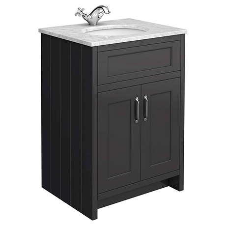 Chatsworth Graphite 610mm Vanity with White Marble Basin Top