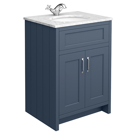 Chatsworth Blue 610mm Vanity with White Marble Basin Top