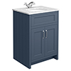 Chatsworth Blue 610mm Vanity with White Marble Basin Top profile small image view 1