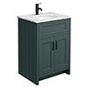 Chatsworth Green 610mm Vanity with White Marble Basin Top + Matt Black Handles profile small image view 1