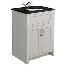 Chatsworth Grey 610mm Vanity with Black Marble Basin Top Medium Image