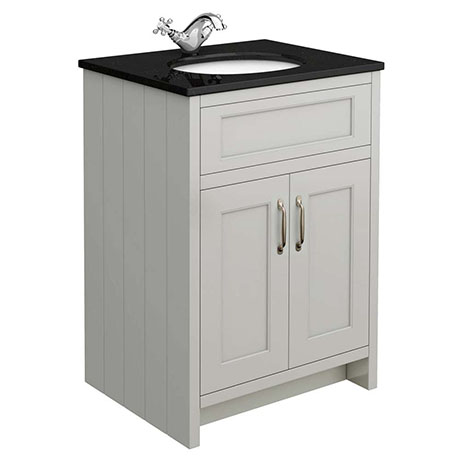 Chatsworth Grey 610mm Vanity with Black Marble Basin Top