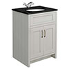 Chatsworth Grey 610mm Vanity with Black Marble Basin Top profile small image view 1