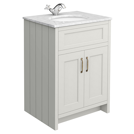Chatsworth Grey 610mm Vanity with White Marble Basin Top