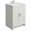 Chatsworth Grey 610mm Vanity with White Marble Basin Top profile small image view 1