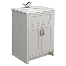 Chatsworth Grey 610mm Vanity with White Marble Basin Top Medium Image