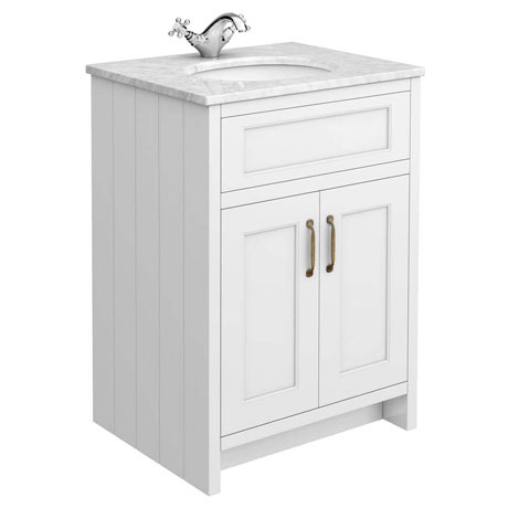 Chatsworth White 610mm Vanity with White Marble Basin Top