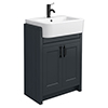 Chatsworth Traditional Graphite Semi-Recessed Vanity - 600mm Wide with Matt Black Handles profile small image view 1