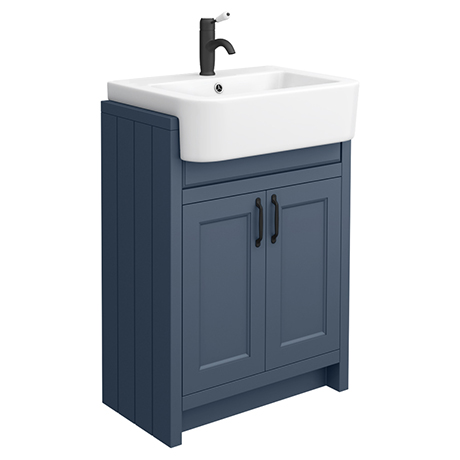 Chatsworth Traditional Blue Semi-Recessed Vanity - 600mm Wide with Matt Black Handles