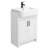 Chatsworth Traditional White Semi-Recessed Vanity - 600mm Wide with Matt Black Handles profile small image view 1