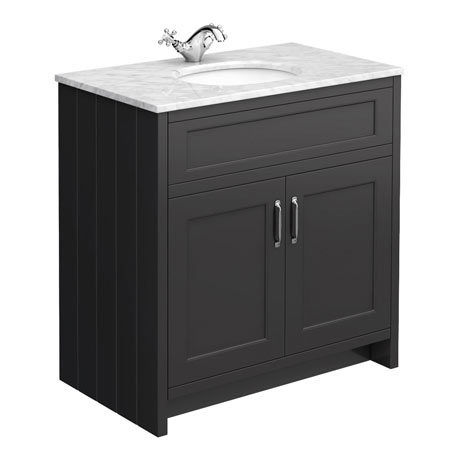 Chatsworth Graphite 810mm Vanity with White Marble Basin Top