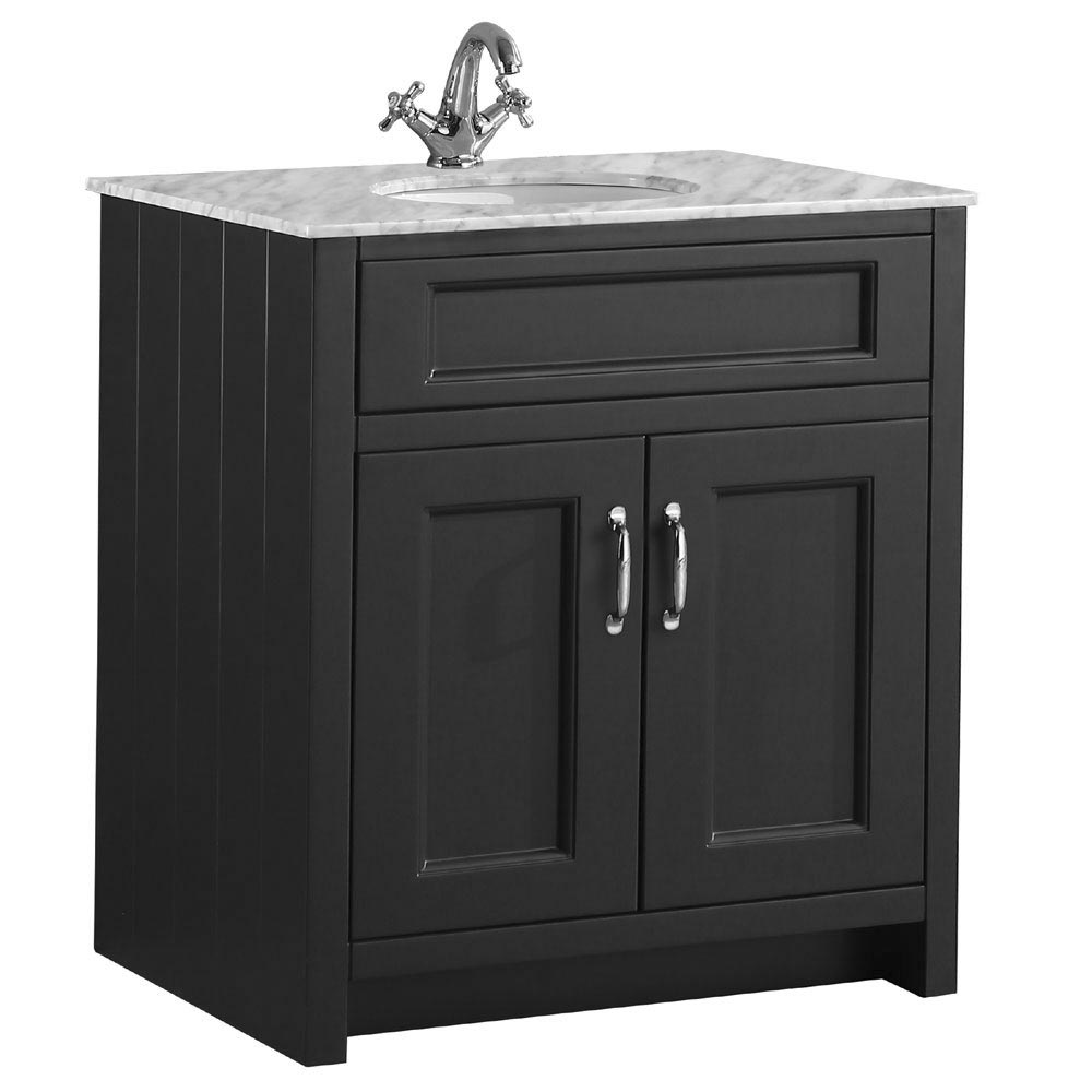 Chatsworth Graphite 810mm Vanity with Marble Basin Top Large Image