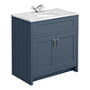 Chatsworth Blue 810mm Vanity with White Marble Basin Top profile small image view 1