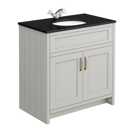 Chatsworth Grey 810mm Vanity with Black Marble Basin Top