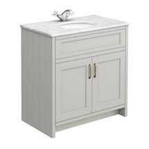 Chatsworth Grey 810mm Vanity with White Marble Basin Top Medium Image