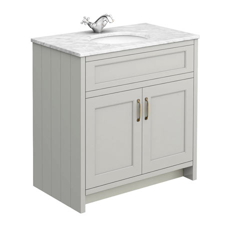Chatsworth Grey 810mm Vanity with White Marble Basin Top